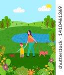 summer scenery vector  pond... | Shutterstock .eps vector #1410461369