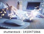financial chart drawn over... | Shutterstock . vector #1410471866