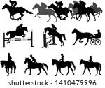 Riding Horses Silhouettes Set....