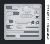 set of gray ui web elements  ...