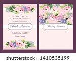 vintage wedding invitation with ... | Shutterstock .eps vector #1410535199