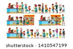 people waiting in long queue to ... | Shutterstock .eps vector #1410547199