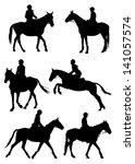 six silhouettes of jockey...   Shutterstock .eps vector #141057574