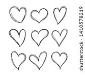 set of hearts in doodle style.... | Shutterstock .eps vector #1410578219