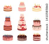 bday sweet baked isolated cakes ... | Shutterstock .eps vector #1410585860