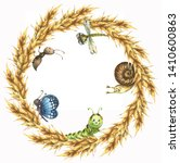 Watercolor Wreath Of Wheat...