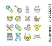 colorful cute baby icon set in... | Shutterstock .eps vector #1410622073