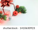 christmas decorations on white... | Shutterstock . vector #1410630923