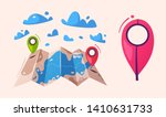 travel concept. router in a map.... | Shutterstock .eps vector #1410631733