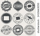 wyoming set of stamps. travel... | Shutterstock .eps vector #1410663050
