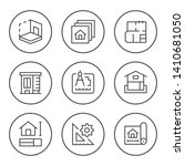 set round line icons of... | Shutterstock .eps vector #1410681050