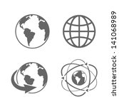 globe earth icons set on white...