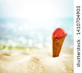 fresh ice cream and summer time  | Shutterstock . vector #1410704903