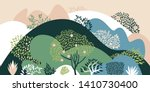 hilly landscape with trees ... | Shutterstock .eps vector #1410730400