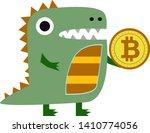 cute dragon holding a bitcoin...   Shutterstock .eps vector #1410774056