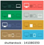flat design ui device icons of...