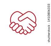 handshake heart icon vector... | Shutterstock .eps vector #1410806333