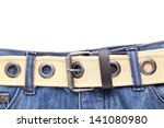 Blue jeans and leather white belt on the white background - stock photo