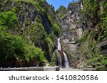 Picturesque Cascading Ulim waterfall in North Korean mountains, outside of Wonsan. Ullim Falls. North Korea