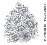 floral composition. bouquet... | Shutterstock .eps vector #1410828089