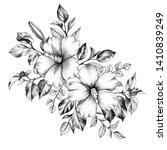hand drawn hibiscus flowers...   Shutterstock . vector #1410839249