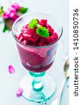raspberry sorbet in a glass  ... | Shutterstock . vector #1410850736