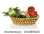 fresh vegetables in the wicker...