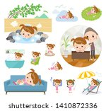 a set of girl about relaxing... | Shutterstock .eps vector #1410872336