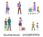 happy shoppers flat vector... | Shutterstock .eps vector #1410893903
