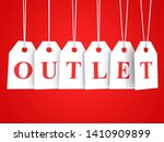 outlet text word on hanging... | Shutterstock . vector #1410909899