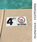 no diving 3 feet 4 5 three four ...   Shutterstock . vector #1410926006