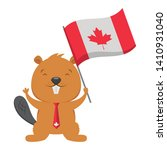 beaver with flag happy canada... | Shutterstock .eps vector #1410931040
