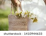 girl in white dress holding... | Shutterstock . vector #1410944633
