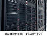 closeup on data servers while... | Shutterstock . vector #141094504