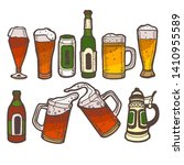beer set. alcohol collection in ... | Shutterstock .eps vector #1410955589