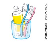 pink and blue toothbrushes and... | Shutterstock .eps vector #1410976073