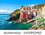 Riomaggiore is a small town in Cinque Terre national park, La Spezia province in Liguria Region, northern Italy - stock photo