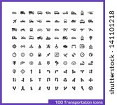 100 transportation icons set....