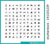 100 medical icons. vector black ... | Shutterstock .eps vector #141101239