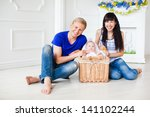 happy family with a newborn... | Shutterstock . vector #141102244
