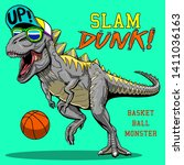 crazy monster dinosaur playing... | Shutterstock .eps vector #1411036163