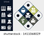 stove icon set. 13 filled stove ... | Shutterstock .eps vector #1411068029