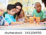 group of elementary age... | Shutterstock . vector #141106930