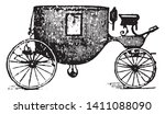 Coach 1870s which is Horse drawn coach of the 1870s, vintage line drawing or engraving illustration.