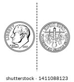 the front of the coin has... | Shutterstock .eps vector #1411088123