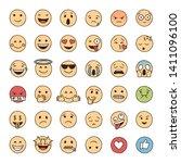 hand drawn emoji in colour ... | Shutterstock .eps vector #1411096100