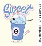 hand drawn cute cat drinks...   Shutterstock .eps vector #1411109333