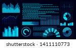 flat blue hud virtual dashboard ...