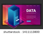 concept of big data processing  ... | Shutterstock .eps vector #1411113800