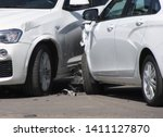 Stock photo car crash accident on the city street two white cars collision 1411127870